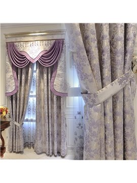 European Luxury Jacquard Shading Curtains Purple Flower Blackout Curtain for Living Room Bedroom Custom 2 Panels Drapes No Pilling No Fading No off-lining
