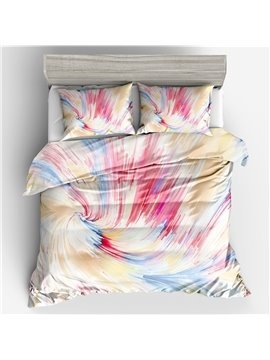 Three-Piece Pink Duvet Cover Set Polyester Bedding Sets Gifts for Bedroom Polyester 2 Pillowcases 1 Duvet Cover Durable