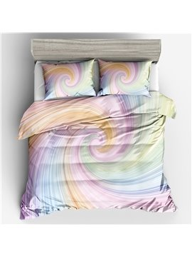 Three-Piece Duvet Cover Set Polyester Bedding Sets Gifts for Bedroom Polyester 2 Pillowcases 1 Duvet Cover Durable Rainbow Color