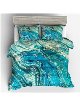 Three-Piece Duvet Cover Set Polyester Bedding Sets Gifts for Bedroom Polyester 2 Pillowcases 1 Duvet Cover Durable Water Marble Color