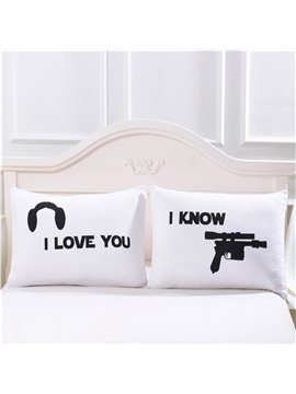 Valentine's Day I Love You Reactive Printing Letter Pillowcase Hand Wash Polyester Pillowcase Derable Colorfast Best Gift for Lover