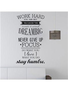 Work Hard Dream Big The Alphabet Stickers PVC Removable DIY Wall Sticker