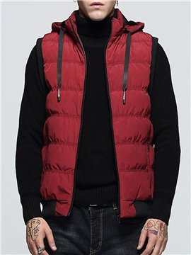Men's Winter Casual Waistcoat Hooded Stand Collar Zipper Plus Fleece Top Thick Stand Collar Plain Vest