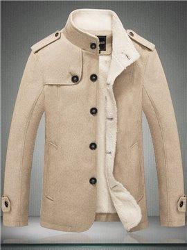Men's Winter Jacket Stand Collar Cotton Fleece Long Sleeve Coat