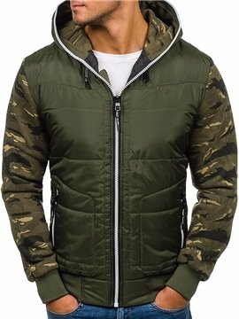 Men's Winter Down Jacket Casual Hooded Long Sleeve Zipper Camouflage Cotton Clothing