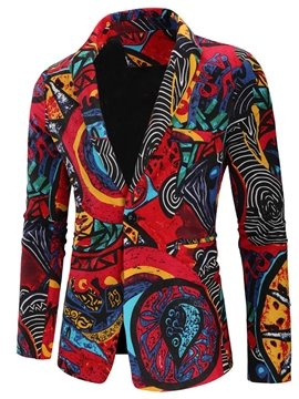 Red Ethnic Style Print Men's Suit Jackets Casual Long Sleeve Slim Fit Single-Breasted One Button Leisure Blazer Coats