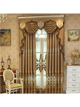 European Elegant Embroidery Sheer Curtains for Living Room Bedroom Decoration Gray Coffee Color Custom 2 Panels Breathable Voile Drapes No Pilling No Fading No off-lining Polyester