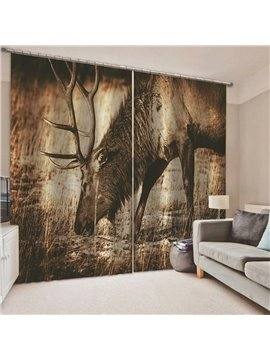 Creative 3D Print Deer Blackout Curtains Custom 2 Panels Drapes for Living Room Bedroom No Pilling No Fading No off-lining Heat insulation Sun Protection Waterproof Polyester