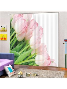 Modern 3D Print Pink Tulip Blackout Curtains Decoration 2 Panels Drapes for Living Room Bedroom No Pilling No Fading No off-lining Polyester