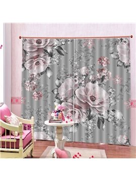3D Print Elegant Pink Flowers Blackout Curtains Decoration 2 Panels Drapes for Living Room Bedroom No Pilling No Fading No off-lining Polyester