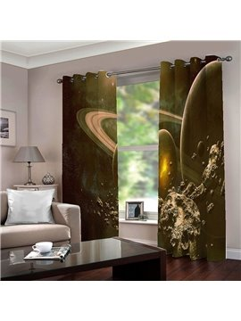 Creative 3D Print Galaxy Blackout Curtains Custom 2 Panels Black Drapes for Living Room Bedroom No Pilling No Fading No off-lining Polyester