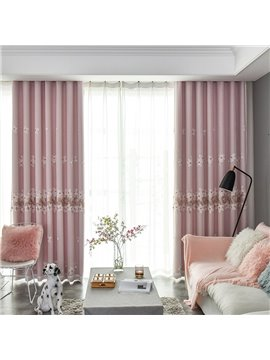 Modern Pink Flowers Embroidery Curtain Sets Sheer and Lining Blackout Curtain for Living Room Bedroom Decoration No Pilling No Fading No off-lining