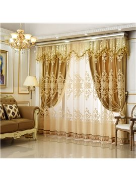 European Style Luxury Golden Curtain Sets Sheer and Lining Blackout Curtain for Living Room Bedroom Decoration No Pilling No Fading No off-lining