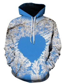 Blue 3D Printed Hoodie Love Pattern Composed of Landscape Women's and Men's Hoodie Couple Outfit Creative Unisex Pullover Hoodies Fashion Long Sleeve Sweatshirt Sportswear Suitable for Valentine's Day