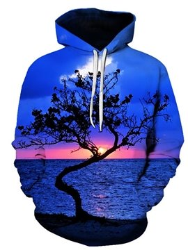 3D Print Blue Seascape Women's Hoodie Men's Hoodie Couple Outfit Creative Unisex Pullover Hoodies Fashion Long Sleeve Loose Sweatshirt Sportswear