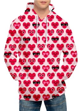 Pink Full Print Heart-shaped Women's Hoodie Men's Hoodie Pink Couple Outfit Creative Unisex Pullover Hoodies Fashion Long Sleeve Sweatshirt Sportswear Suitable for Valentine's Day
