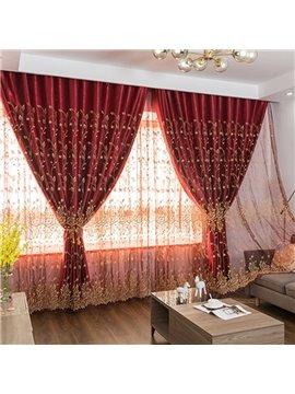 European Style Embroidered Lace Red Curtain Sets Sheer and Lining Blackout Curtain for Living Room Bedroom Decoration No Pilling No Fading No off-lining