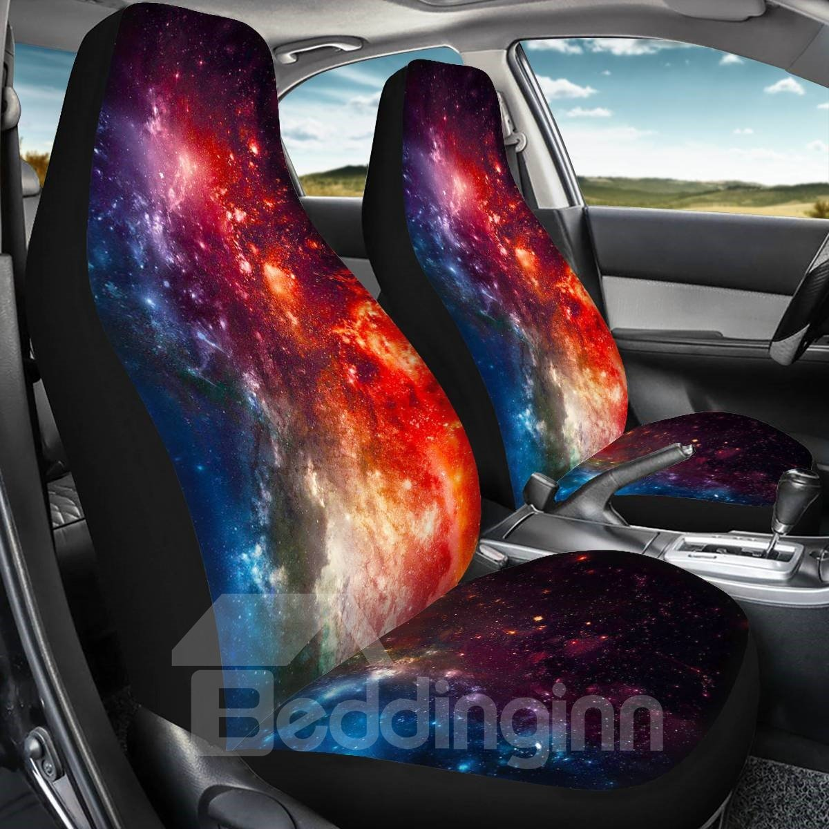 2PCS Front Seat Covers Star Printing Universal Fit Seat Covers Will Stretch to Fit Most Car and SUV Bucket Style Seats