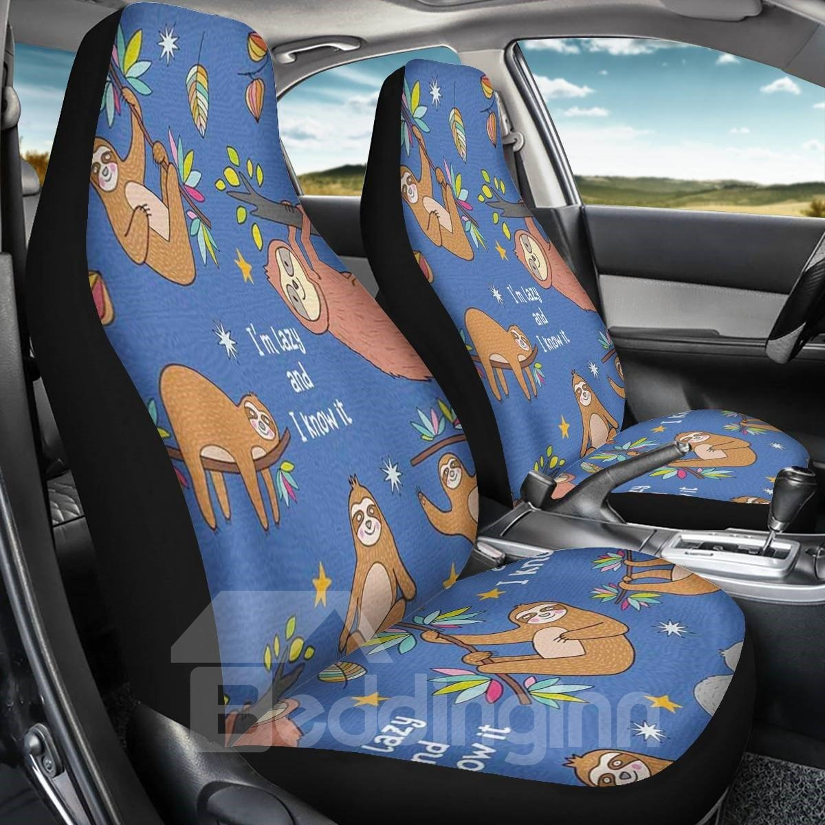 2PCS Front Seat Covers Sloth Print Pattern Universal Fit Seat Covers Will Stretch to Fit Most Car and SUV Bucket Style Seats