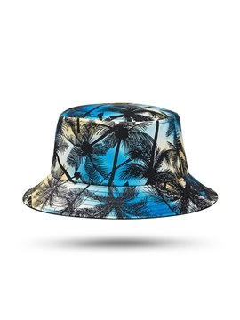 3D Printed Hawaii Coconut Tree Bucket Hat Summer UV Protection Packable Reversible Lightweight Fisherman Cap Sun Hats Outdoor Summer Travel Hiking Beach Caps