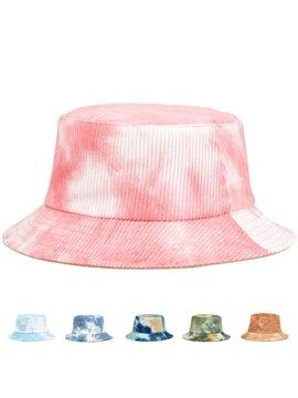 Tie-dye Reversible Bucket Hat Breathable Corduroy Summer UV Protection Packable Hip Hop Fisherman Cap Outdoor Travel Beach Sun Hat Visor Caps