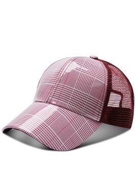 Casual Unisex Plaid Mesh Baseball Caps Adjustable Breathable Snapback Headwear Outdoor Trucker Hats Dad Hats Summer Sun Hat