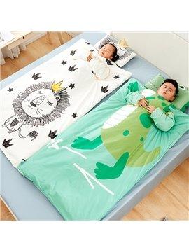 Cute Dinosaur And Lion Pattern Anti-Kicking Green Baby Sleeping Bag Cotton Material