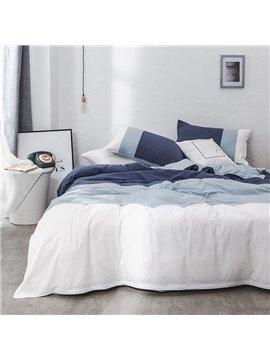 Blue 100% Cotton 4-Piece Duvet Cover Set Skin-friendly Ultra-soft 2 Pillowcases 1 Duvet Cover 1 Flat Sheet