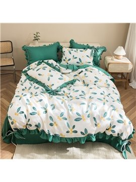 Green Floral Flower 100% Cotton 4-Piece Duvet Cover Set Skin-friendly Ultra-soft 2 Pillowcases 1 Duvet Cover 1 Flat Sheet