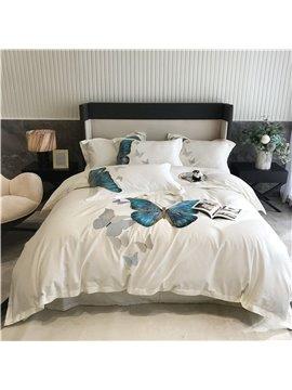 Embroidery Duvet Cover Bedding Set Four-Piece 100S Pure Cotton Satin Simple Quilt Cover Sheets Set Includes 1 Duvet Cover 2 Pillowcases 1 Flat Sheet Color White