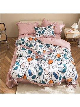 100% Cotton 4-Piece Duvet Cover Set Skin-friendly Ultra-soft 2 Pillowcases 1 Duvet Cover 1 Flat Sheet