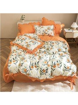 Orange Floral Flower 100% Cotton 4-Piece Duvet Cover Set Skin-friendly Ultra-soft 2 Pillowcases 1 Duvet Cover 1 Flat Sheet