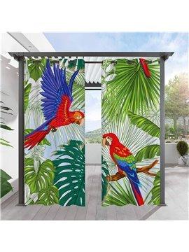 Modern Outdoor Curtains Bird and leaf 3D Animal Pattern Cabana Grommet Top Curtain Waterproof Sun-proof Heat-insulating 2 Panels