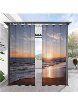 Modern 3D Print Outdoor Curtains Sea and Sunset Grommet Top Cabana Curtain Waterproof Sun-proof Heat-insulating Polyester 2 Panels