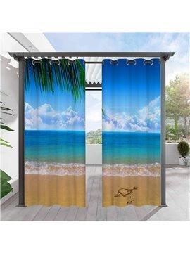 Modern Blue 3D Outdoor Curtains Sea View Beach Grommet Top Cabana Curtain Waterproof Sun-proof Heat-insulating Polyester 2 Panels