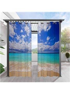 Modern 3D Sea Landscape Outdoor Curtains Grommet Top Cabana Curtain Waterproof Sun-proof Heat-insulating 2 Panels