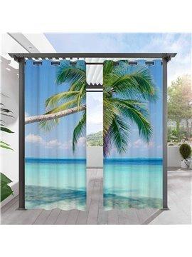 Modern 3D Printed Outdoor Curtains Sea Scenery Coconut Tree Cabana Grommet Top Curtain Waterproof Sun-proof Heat-insulating 2 Panels