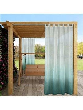 Modern Gradient Green Outdoor Sheer Curtains Cabana Tab Top Curtain Waterproof Sun-proof Heat-insulating 1 Panel