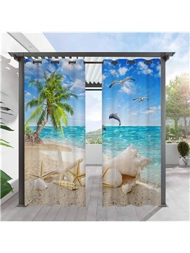 Exclusive Outdoor Curtains 3D Sea Scenery Shell Coconut Tree Solid Cabana Grommet Top Curtain Waterproof Sun-proof Heat-insulating 2 Panels