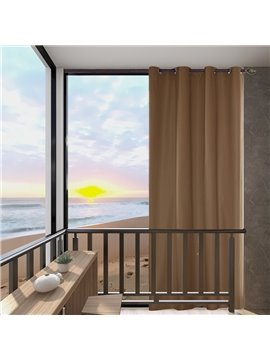 Modern Brown Outdoor Curtains Cabana Grommet Top Curtain Waterproof Sun-proof Heat-insulating 1 Panel