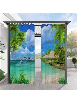Modern Outdoor Curtains 3D Sea Scenery Cabana Grommet Top Curtain Waterproof Sun-proof Heat-insulating 2 Panels