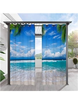 Modern Blue Outdoor Curtains 3D Sea Scenery Cabana Grommet Top Curtain Waterproof Sun-proof Heat-insulating 2 Panels