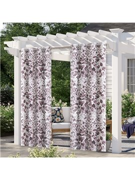 Modern Outdoor Curtains Watercolor Leaves Cabana Grommet Top Curtain Waterproof Sun-proof Heat-insulating 1 Panel