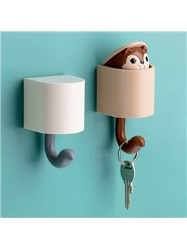 Cute Cartoon Squirrel Wall Hook Coat Hooks Wall Mounted Adhesive Hooks Creative Home Decoration Key Holder Heavy Duty Wall Hooks for Kid's Room Living Room Bedroom