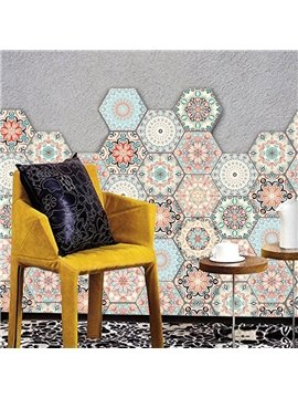 10 Pcs Hexagon Non-Slip Floor Stickers for Home Decor Peel and Stick Self-Adhesive Wall Sticker for Living Room Kitchen Bathroom Waterproof Ethnic DIY Floor Tiles