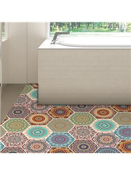 10 Pcs Bohemian Style Hexagon Non-Slip Floor Stickers for Home Decor Peel and Stick Self-Adhesive Wall Sticker for Living Room Kitchen Bathroom Waterproof Ethnic DIY Floor Tiles