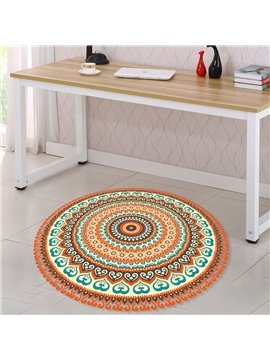 Anti-Slip Wear-resistant Round Bohemian Style 3D Floor Stickers Waterproof Removable Self-Adhesive Wall Stickers for Home Decor Ethnic DIY Stickers for Bedroom Living Room Bathroom