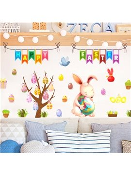 Easter Eggs Bunny Wall Stickers Self-adhesive Waterproof DIY Stickers Cartoon Wall Decorations
