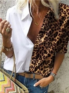 Casual Leopard Printed Women's T-Shirt Long Sleeve Lapel Women's Top
