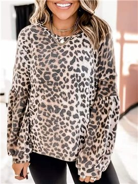 Casual Leopard Women's T-Shirt Loose Round Neck Long Sleeve Women's Top